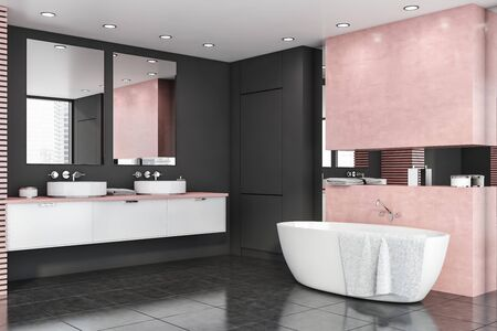 Interior of stylish bathroom with gray and pink walls, grey tiled floor, comfortable bathtub and double sink on white countertop with vertical mirrors. 3d rendering Banque d'images - 131330545
