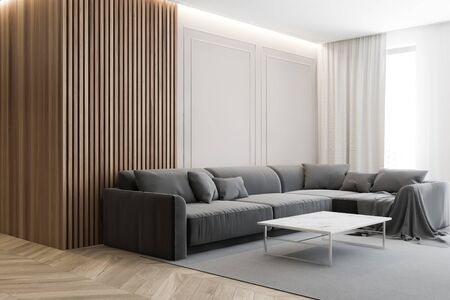 Corner of stylish living room with wooden and white walls, wooden floor, comfortable gray couch and marble coffee table on grey carpet. 3d rendering