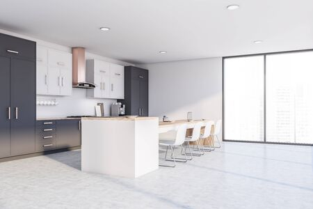 Corner of modern kitchen with white walls, concrete floor, gray countertops, white cupboards and long white island with chairs. 3d rendering