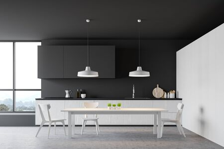 Cozy white dining table with chairs standing in modern kitchen interior with white and dark gray walls, grey cupboards and white countertops. 3d rendering Stock Photo