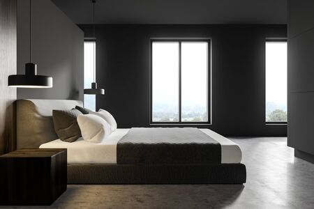 Side view of stylish master bedroom or hotel suite with gray and dark wooden walls, concrete floor, king size bed and windows with mountain view. 3d rendering