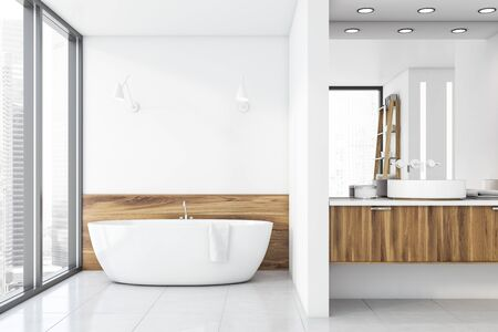 Luxury bathroom interior with white and light wooden walls, white bathtub standing near window and double sink with large mirror. 3d rendering Reklamní fotografie
