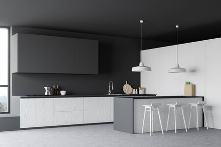 Corner of spacious kitchen with white and dark gray walls, concrete floor, large windows, white countertops, grey cupboards and bar with stools. 3d rendering