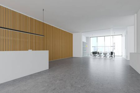 Interior of modern office with white and wooden walls, reception counter with stylish lamp and conference room in background. 3d rendering