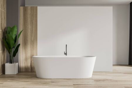 Interior of minimalistic bathroom with white and wooden walls, wooden floor, comfortable white bathtub and potted plant. Concept of relaxation. 3d rendering Фото со стока