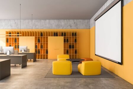 Interior of modern loft open space office with yellow walls, rows of computer desks, bookcases with folders and lounge area with yellow armchairs and mock up projection screen. 3d rendering Stok Fotoğraf