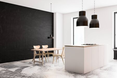 Corner of luxury kitchen with white and concrete walls, marble floor, white island with built in stove and wooden dining table with chairs. 3d rendering Фото со стока