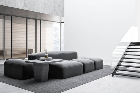 Corner of stylish living room with white and wooden walls, concrete floor, comfortable sofa near coffee table, mock up wall, panoramic windows with cityscape and stairs. 3d rendering