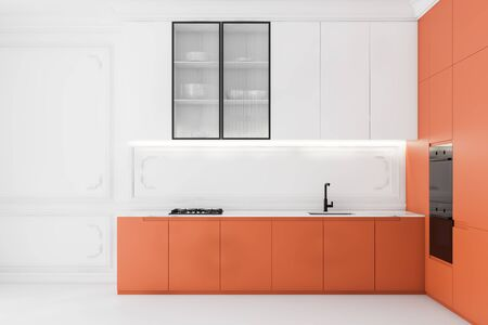 Interior of bright luxury kitchen with white walls and floor, white cupboards, orange countertops with built in sink and cooker and two modern ovens. 3d rendering
