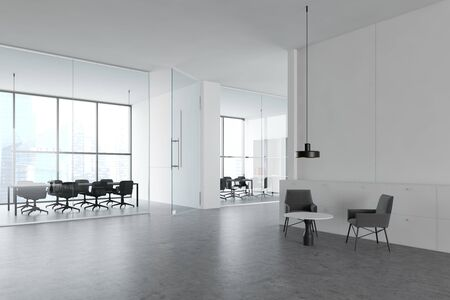 Interior of modern office with white walls, concrete floor, two meeting rooms with glass walls and lounge area with armchairs and coffee table. 3d rendering