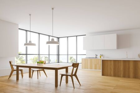Corner of spacious kitchen with white and wooden walls, wooden countertops with built in sink and stove, island and long wooden dining table with chairs. 3d rendering Фото со стока