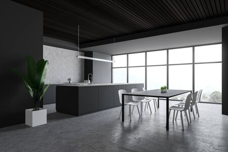 Corner of modern kitchen with grey and concrete walls, concrete floor, large window with mountain view, gray dining table with chairs, island with built in sink and gray countertops. 3d rendering
