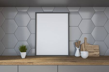 Vertical mock up poster frame standing on kitchen table with cutting board and dishes in room with gray tile walls. 3d rendering