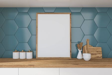 Vertical mock up poster frame standing on kitchen table with cutting board and dishes in room with blue tile walls. 3d rendering