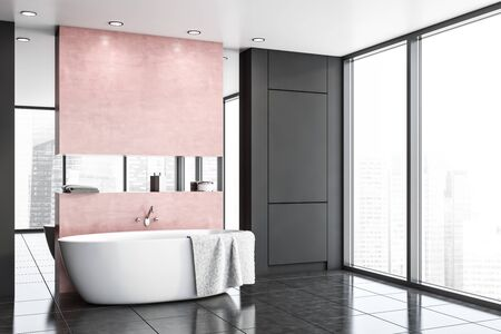 Corner of stylish bathroom with gray and pink walls, tiled floor, comfortable white bathtub with towel on it and mirror. 3d rendering Banque d'images - 131330850