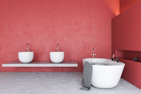 Interior of spacious bathroom with red walls, concrete floor, comfortable white bathtub and double sink standing on stone shelf. Concept of relaxation. 3d rendering Фото со стока