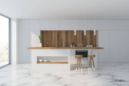 Interior of comfortable kitchen with white and wooden walls, marble floor, panoramic window, white countertops and bar with stools. 3d rendering