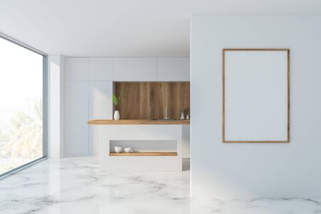 Interior of comfortable kitchen with white and wooden walls, marble floor, panoramic window, white countertops and vertical mock up poster frame. 3d rendering