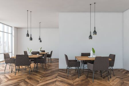 Interior of modern restaurant with white walls, wooden floor, rows of square wooden tables and brown armchairs. 3d rendering 写真素材
