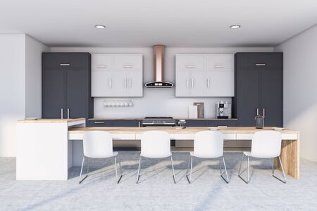 Interior of modern kitchen with white walls, concrete floor, gray countertops, white cupboards and long white island with chairs. 3d rendering Фото со стока