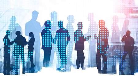 Silhouettes of diverse business people working together and shaking hands in modern city with double exposure of world map. Concept of teamwork and globalization. Toned image Foto de archivo - 131330531