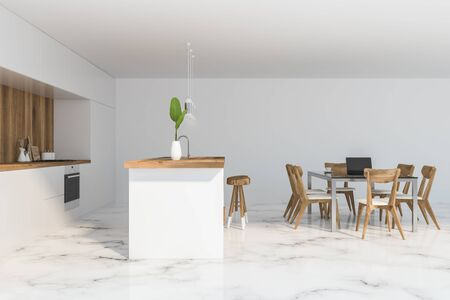Side view of comfortable kitchen with white and wooden walls, marble floor, white countertops and bar with stools. Cozy dining table with chairs. 3d rendering Stock Photo
