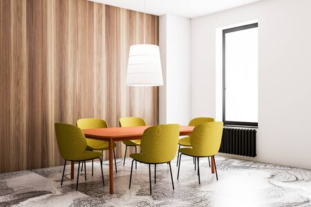 Corner of stylish dining room with wooden and white walls, marble floor, bright orange table with yellow chairs and stylish white ceiling lamp. 3d rendering Stock fotó