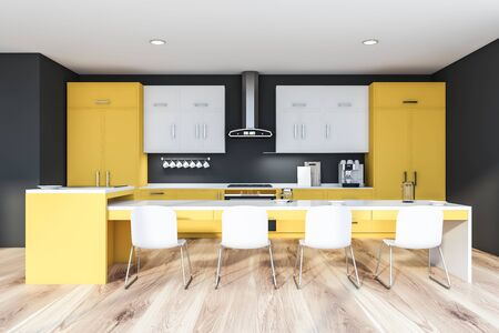 Interior of modern kitchen with dark gray walls, wooden floor, yellow countertops, white cupboards and long yellow island with chairs. 3d rendering