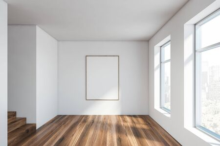 Interior of empty room in new apartment with white walls, wooden floor, staircase and vertical mock up poster frame near big windows with cityscape. 3d rendering