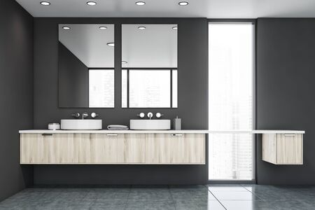 Interior of stylish bathroom with gray walls, tiled floor, narrow window and round double sink standing on wooden countertop. 3d rendering