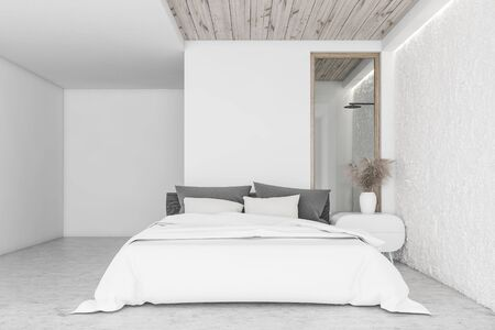 Interior of modern bedroom with white and crude wall, concrete floor, king size bed and bathroom with shower in background. 3d rendering