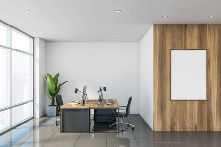 Interior of stylish office with white and wooden walls, tiled floor and windows with cityscape. Vertical mock up poster frame. Modern office interior concept. 3d rendering
