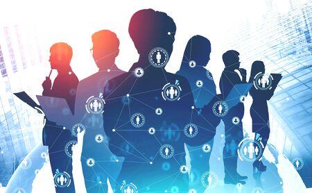 Siluetas de gente de negocios en la ciudad moderna con doble exposición de holograma de planeta e interfaz HUD HR. Concepto de redes sociales y búsqueda de empleo. Imagen tonificada