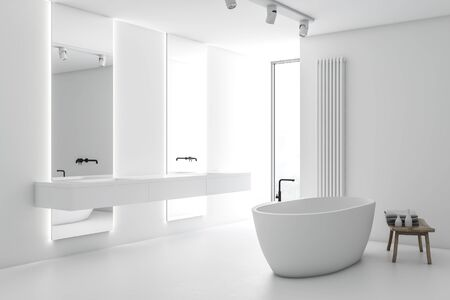 Corner of stylish bathroom with white walls, white floor, double sink with vertical mirrors, comfortable bathtub and chair with towels and beauty products. 3d rendering