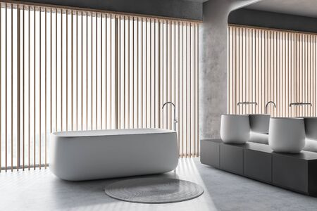 Corner of modern bathroom with concrete walls and floor, panoramic window, comfortable bathtub and massive double sink on gray countertop. 3d rendering