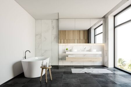Interior of luxury bathroom with white marble walls, gray tiled floor, comfortable bathtub with water and double sink with large mirror above it. 3d rendering