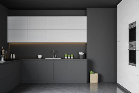 Innenraum der minimalistischen Küche mit grauen und weißen Holzwänden, Betonboden, bequemen grauen Arbeitsplatten, weißen Schränken und zwei eingebauten Öfen. 3D-Rendering