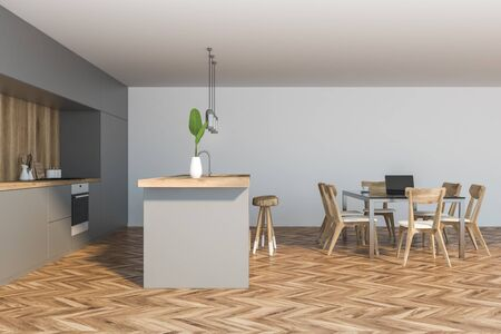 Side view of comfortable kitchen with white and wooden walls, wooden floor, grey countertops and bar with stools. Cozy dining table with chairs. 3d rendering Stok Fotoğraf