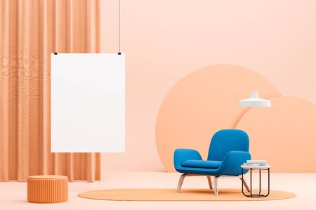 Interior of bright minimalistic living room with peach colored walls and floor, bright blue armchair on carpet, coffee table and vertical mock up poster. 3d rendering Stok Fotoğraf