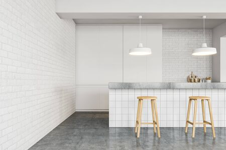 Interior of stylish minimalistic loft style pub with white brick walls, concrete floor, long white bar stand with stools and white cupboard. 3d rendering