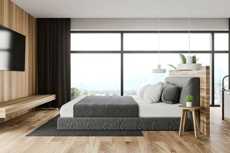 Interior of modern bedroom with white and wooden walls, panoramic window, king size bed with modern TV in front of it and bathroom with bathtub next to it. 3d rendering Stockfoto