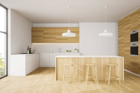 Interior of stylish kitchen with white walls, wooden floor, bar with wooden stools, white countertops and two built in ovens. 3d rendering Stock Photo