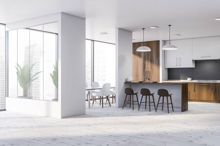 Interior of spacious kitchen with white walls, wooden floor, white cupboards, bar with stools, dining table and wooden countertops. 3d rendering Banco de Imagens
