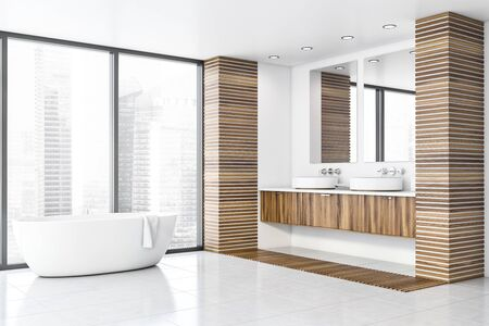 Interior of panoramic bathroom with white and wooden walls, white tiled floor, comfortable bathtub near window with cityscape and double sink on wooden countertop. 3d rendering