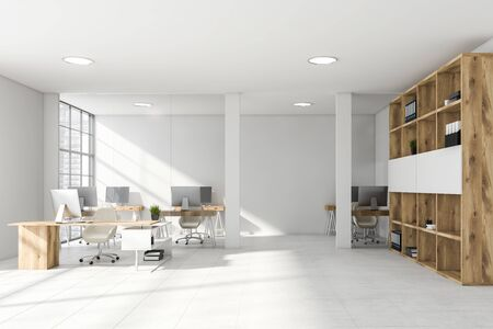 Interior of modern office with white and glass walls, tiled floor, manager desk with bookcase and open space area in the background. 3d rendering