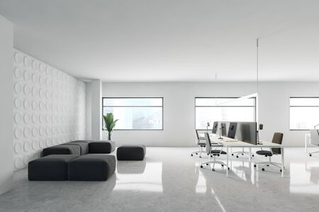 Interior of modern office waiting room with white and geometric pattern walls, comfortable gray armchairs and sofas and rows of white computer tables. 3d rendering 写真素材
