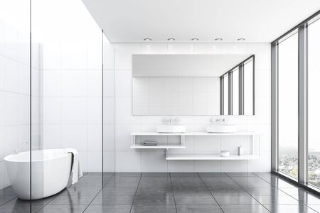 Interior of comfortable bathroom with white tile and glass walls, gray tiled floor, comfortable bathtub with towel hanging on it and double sink with large mirror. 3d rendering Banco de Imagens