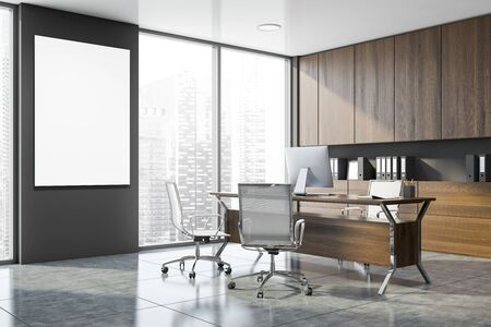 Corner of modern CEO office with gray walls, tiled floor, dark wooden computer table and bookcase with folders behind it. Vertical mock up poster. 3d rendering