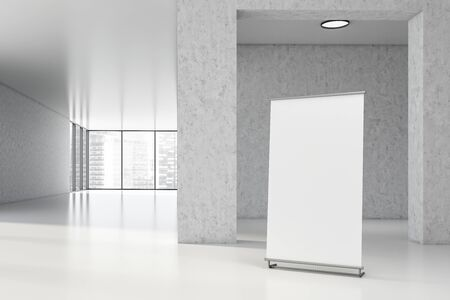 Vertical mock up banner standing in hall of empty office building in industrial style with white walls, arches and panoramic window with cityscape. 3d rendering