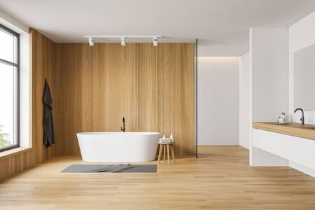 Interior of modern bathroom with white and wooden walls, wooden floor, comfortable white bathtub and double sink on white countertop. 3d rendering